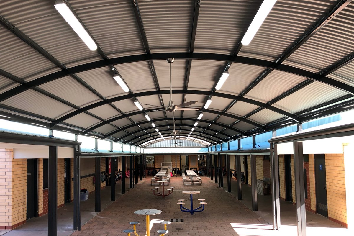 Hard roof shelter structure Northfield Primary School City of Port Adelaide Enfield SA Spotless DPTI