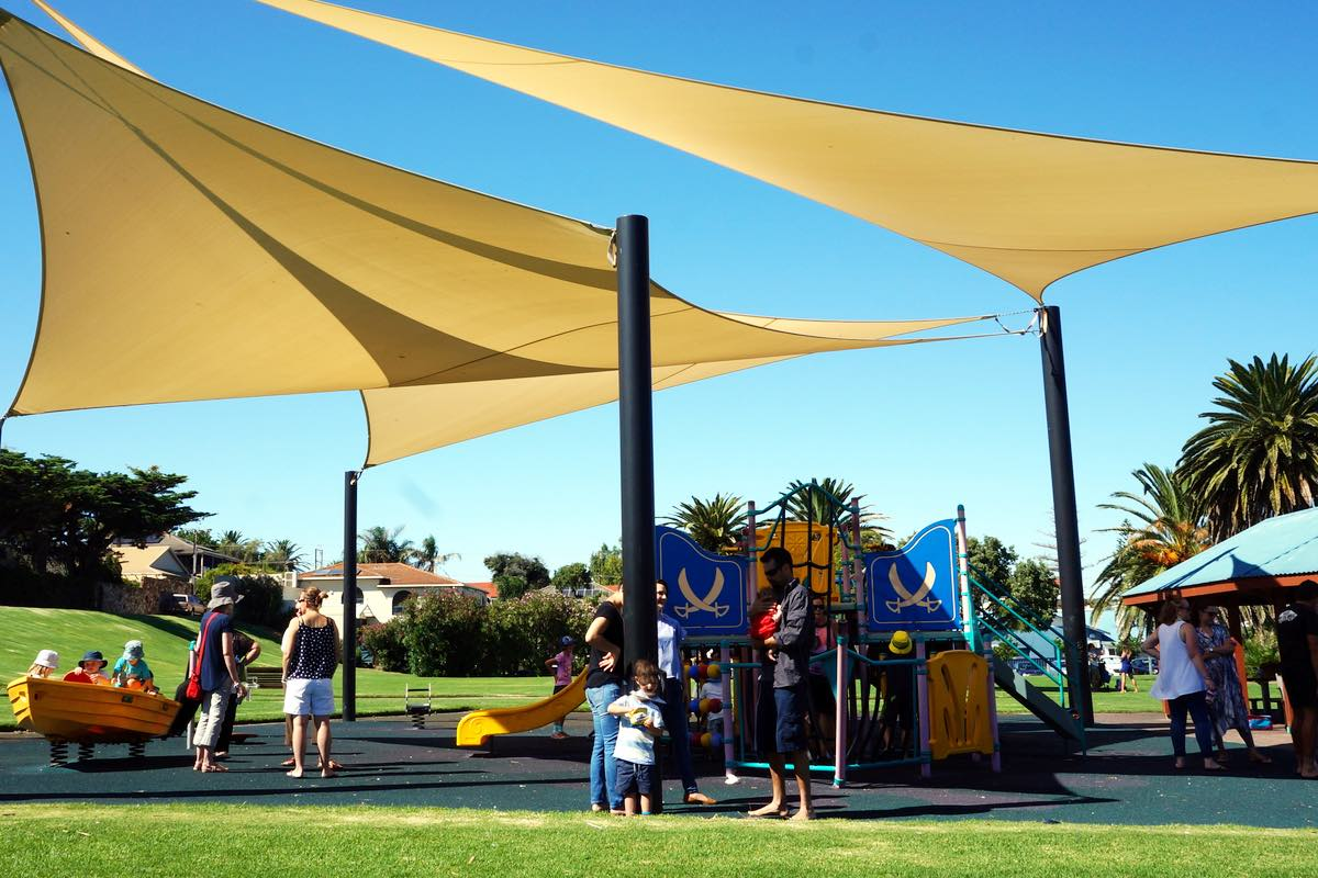 custom shade sails for council  playground city of Holdfast Bay