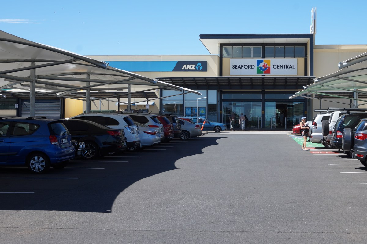 Car park shade structures Seaford Central shopping centre