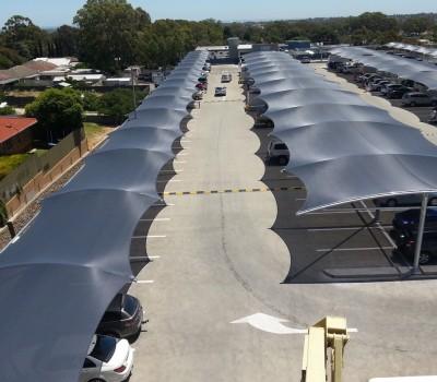 Car Park shade structure St agnes shopping centre SA City of Tea Tree Gully