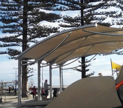 Custom shade shelter cantilever Moseley Square Glenelg City of Holdfast Bay
